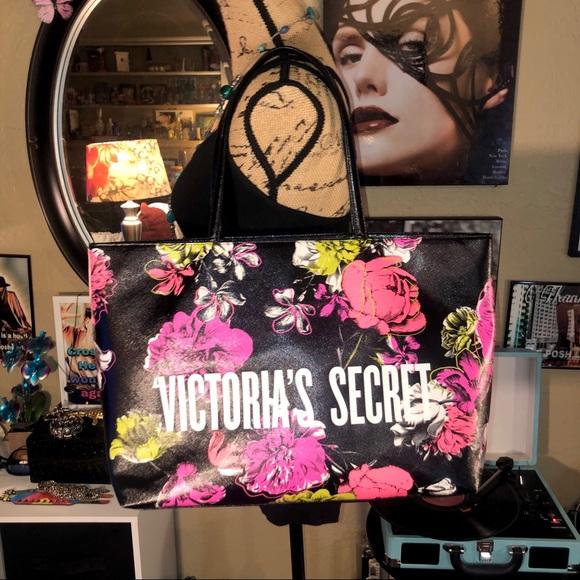 Victoria's Secret Handbags - VS Bright Neon Floral Black Tote